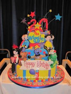 Homemade Wiggles Birthday Cake: This Homemade Wiggles Birthday Cake is a cake that I made for the Wiggles to celebrate their 20th Anniversary. It was presented to them at a show in Chicago.