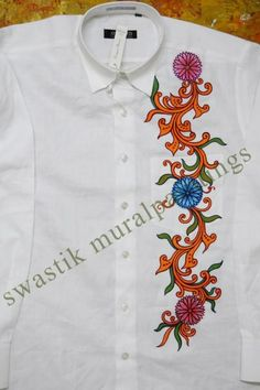 Border Dress Painting, Fabric Painting, Fabric Art, Gents Shirts, Indian Traditional Paintings, Kerala Mural Painting, Fabric Paint Designs, Border Design, Mural Art