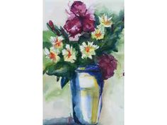 """""""Iris and Daisies,"""" a watercolor by Terry Heinzmann. Available for bid in the Paint the Town Art Auction!"""