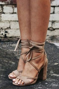 Lace up heels.