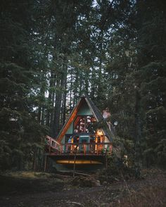 Cottage Life — mobilehomestead:   Source IG @walletsandwhiskey A Frame Cabin, A Frame House, Cabin Homes, Log Homes, Ideas De Cabina, Cabin In The Woods, Forest House, Woodland House, Forest Cabin