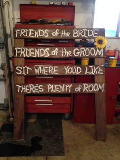 """""""Friends of the bride, friends of the groom"""" sign for ceremony"""