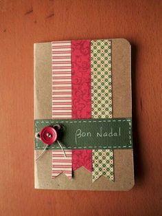 tarjetas de navidad originales hechas a mano figuras con puntadas sobre cartulina navidad pinterest navidad