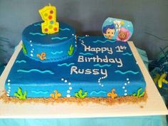 But have the small cake raised 2 Birthday Cake, 2nd Birthday Parties, Birthday Celebration, Birthday Ideas, Bubble Guppies Cake, Bubble Guppies Birthday, Bubble Party, Small Cake, Cake Decorating Tips