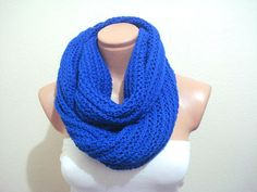 FREE SHIPPING cobalt blue Circular Scarf knit by AnatoliaDreams, $30.00