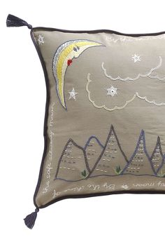 For the Dreamer - Handmade + Fair Trade embroidered pillow - Moon + Mountain Landscape - Boho Style Home - Ethical Kids Room idea