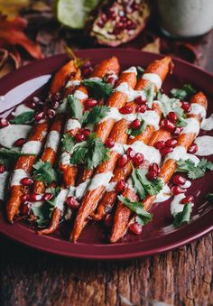 Roasted Carrots with Green-Tahini Sauce and Pomegranate... Festive with simple ingredients!