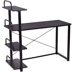 black 4 tier computer laptop notebook pc workstation desk with shelves writing study spacious work station
