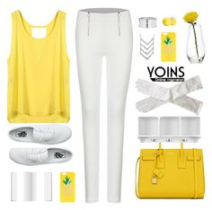 """""""YOINS YELLOW VEST WE LOVE"""" by yoinscollection ❤ liked on Polyvore featuring Kate Spade, Mikasa, Yves Saint Laurent, Home Decorators Collection, Eos, Vans, Fall, MustHave, autumn and autumnstyle"""