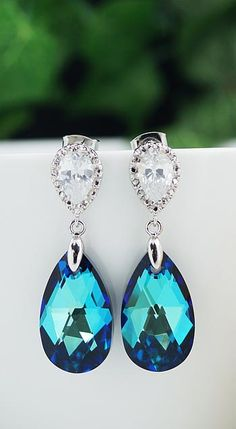 Bermuda Blue Swarovski Crystal Bridal Earrings from EarringsNation Wedding Bridesmaid Gifts