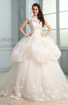 Dentelle robe de mariée princesse satin organza broderie [#ROBE209060] - robedumariage.com