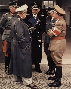 Wilhelm Keitel Hermann Göring Karl Dönitz Heinrich Himmler and Martin Bormann in conversation at a train station near the Eagle Nest.  Our Next person we look into Großadmiral Karl Doenitz  after Speer of course. by history_fanatic
