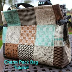 Make a Patchwork Charm Square Tote Bag - Free Sewing Tutorial from Girls in the Garden