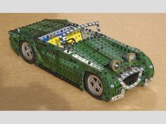 """Austin Healey Sprite """"Frogeyes"""" made in Meccano by Neil Speirs Austin Healey Sprite, Mk 1, Classic Chevy Trucks, Retro Toys, Slot Cars, Classic Toys, Robotics, Model Trains, Hobbit"""