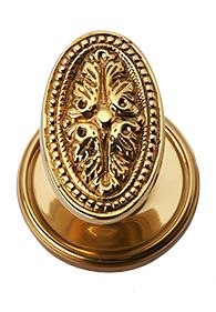 Solid Brass Avalon Oval Door Knob Set (Polished Brass Finish)