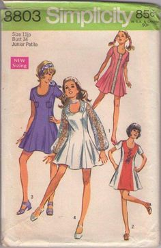 MOMSPatterns Vintage Sewing Patterns - Simplicity 8803 Vintage 70's Sewing Pattern SUPER FUN Disco ABBA Dancing Queen Fit & Flared Mini Princess Seams Mini Dress, Contrast Color Block Sides, Lace Sleeves, 4 Styles Size 11JP