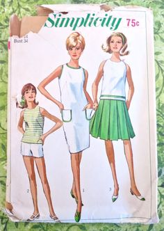 Simplicity 6543 - Vintage 1960s Shift Dress Pattern with Blouse, Shorts, and Pleated Skirt by Fragolina on Etsy