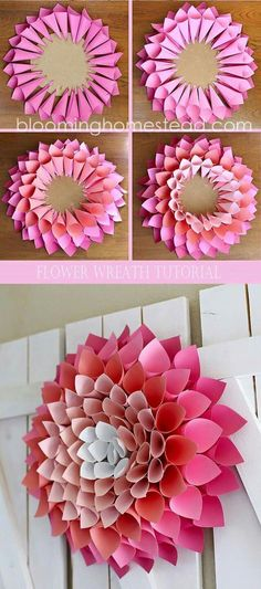 Best Ideas DIY and Crafts Inspiration : Illustration Description Check out this adorable and affordable DIY Spring Wreath tutorial via Blooming Homestead – This paper dahlia wreath is so easy… Diy Spring Wreath, Diy Wreath, Spring Crafts, Wreath Ideas, Tulle Wreath, Hydrangea Wreath, Winter Wreaths, Burlap Wreaths, Diy Garland