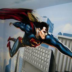 Superman Bedroom Graffiti Art By Kings Artist Go To Graffitikingscouk For More Street Stencil