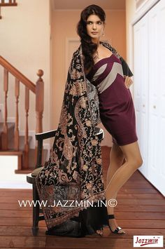Wholesale Black Cashmere Pashmina Scarf and Shawls with Golden Embroidery from Jazzmin, Srinagar, Kashmir, India