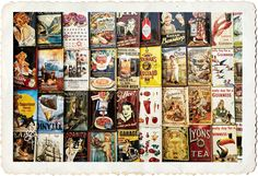 Beautiful array of antique #branding. The arrangement of labels by itself could certainly be used as #background #imagery. The decision made in post for this execution is to add visual interest with a #distressed #edge effect.  The #image can then be re-produced at a larger scale and used as #wall #art. #stock #photography #Photoshop