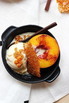 Peach Splits with Goma Praline. #summer #desserts
