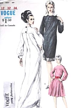 1960s Mod Evening Or Day Smock Dress Pattern Vogue Young Fashionables 6762 Slim Full  or Cocktail Length, Two Pc Gathered Skirt Dress Bust 32 Vintage Sewing Pattern UNCUT