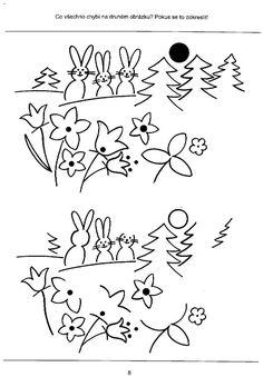 Shody a rozdíly - pracovní listy pro rozvoj zrakového vnímání – haju – album na Rajčeti Oriental, Lettering, Struktura, Cards, Fictional Characters, Daycare Ideas, Kindergarten, Drawing Letters, Map