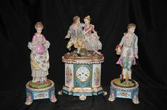 German Meissen Porcelain Figurine Clock Set www.canonburyantiques.com