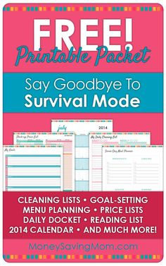 In order to celebrate, we've put together a huge packet of free printables. The Say Goodbye to Survival Mode Printable Packet is an updated collection of some of the best of my home management printables.