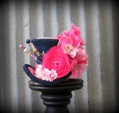 Hey, I found this really awesome Etsy listing at https://www.etsy.com/listing/219677860/micro-mini-top-hat-navy-blue-and-pink