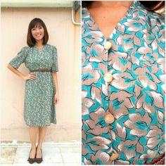 Vintage Dress/ Turquoise Floral Dress/ Pastel by HEIRESSxVintage, $42.00