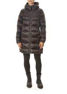 'Marion' Black Mid-Length Puffer Coat | Jessimara