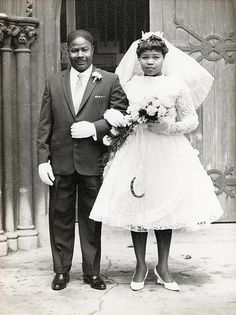Offbeatbride.com recently had a post including several vintage wedding photos. I think this one is the best. Not sure what era its from but there are so many dresses like this on Offbeatbride and Rock n' Roll bride that it seems very relevant. It's also a fantastic photo in it's own right.