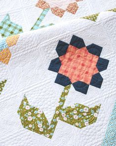 Did you know IG can send you notifications so you don't miss any of my posts? Just click on the ••• in the top-right corner of this post (or my profile) to turn on post notifications for this feed.  Pattern is Cottage Blossoms using my #littlemisssunshinefabric that ships in April.  #cottageblossomsquilt Custom quilting by @nataliabonner #shealwayslooksonthebrightside