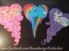 Pinkie Pie, Rainbow Dash und Rarity von My little Pony aus Bügelperlen -  Perler beads by Baumberger Entdecker