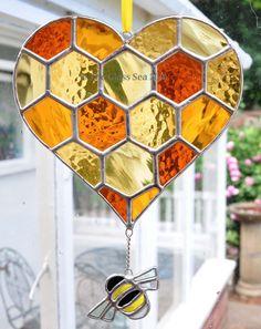 Heart Honeycomb & Bee Stained Glass Suncatcher