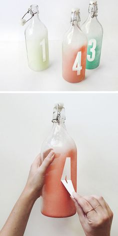 DIY Watercolor Table Numbers | 28 DIY Glass Craft Ideas | Easy Crafts to Make at Home