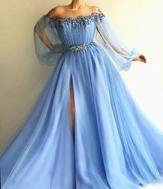 Petite Blue Tulle Long Prom Dress Sexy Slit Evening Dress A-Line Prom Dresses Petite Blue Tüll Langes Abendkleid A-Line Abendkleider A Line Prom Dresses, Floor Length Dresses, Satin Dresses, Sexy Dresses, Fashion Dresses, Party Dresses, Long Dresses, Dress Prom, Baby Blue Prom Dresses