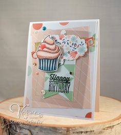 Handmade birthday card by Stacey Schafer using the Small Packages set from Verve.  #vervestamps