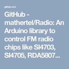 GitHub - mathertel/Radio: An Arduino library to control FM radio chips like SI4703, SI4705, RDA5807M, TEA5767.