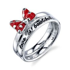DISNEY MINNIE MOUSE STERLING SILVER 'LOVE IS BOWTIFUL' RED ENAMEL  BAND RING 7 #DISNEY