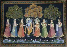 Radha Krishna Under Khejadi Tree - Pichwai Paintings Peacock Painting, Cow Painting, Music Painting, Online Painting, Silk Painting, Paintings Online, Pichwai Paintings, Landscape Paintings, Landscapes