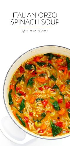 This Italian Orzo Spinach Soup recipe is easy to make in 30 minutes, and it's SO delicious and comforting! This Italian Orzo Spinach Soup recipe is easy to make in 30 minutes, and it's SO delicious and comforting! Vegan Soups, Vegetarian Recipes, Cooking Recipes, Healthy Recipes, Vegitarian Soup Recipes, Vegan Vegetarian, Easy Vegan Soup, Cooking Corn, Bon Appetit