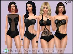 A set of black swimsuits guaranteed to make an impression at the pool Found in TSR Category 'Sims 4 Female Clothing Sets'