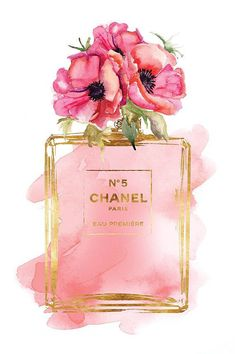 Chanel No 5 Printed fashion poster watercolor red poppies poppy print Coco… Chanel Poster, Chanel Print, Mode Poster, Parfum Chanel, Illustration Mode, Balloon Illustration, Illustration Fashion, Fashion Illustrations, Watercolor Red