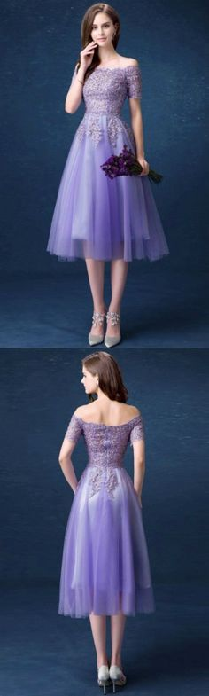 Modest Cheap Homecoming Dresses Purple Off the Shoulder Tea Length Tulle With Beading