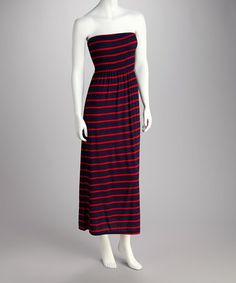Take a look at this Red & Navy Stripe Strapless Maxi Dress by Feathers on #zulily today! $9.99, regular 34.00
