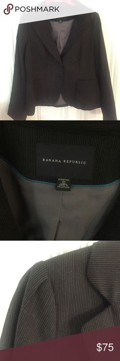 Banana republic suit jacket/blazer, size 10,GUC Banana Republic, size 10, suit jacket/blazer, charcoal pinstripe, GUC only because it's been in storage and needs a little TLC. I have matching pencil skirt for sale too! Banana Republic Jackets & Coats Blazers
