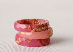Watermelon Pink size 7.5 thin multifaceted eco resin stacking rings